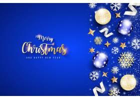 优雅的蓝色背景圣诞横幅_6229755