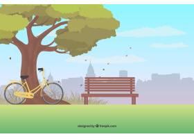 公园背景有一棵树和一辆自行车_1272242
