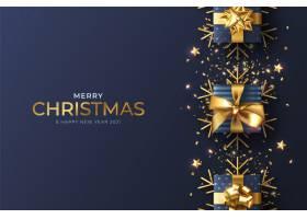 蓝色装饰的逼真圣诞背景_11114571