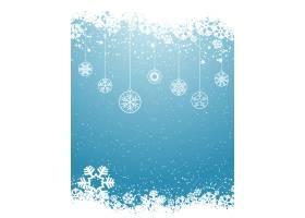 蓝色雪花背景上的球剪影_827700