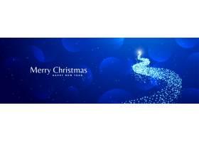 闪亮的创意圣诞树设计蓝色横幅_3383108