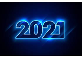 闪亮的霓虹灯蓝2021新年快乐背景_11574731