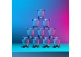 透明酒精照片的矢量金字塔在模糊的彩色背_11060258