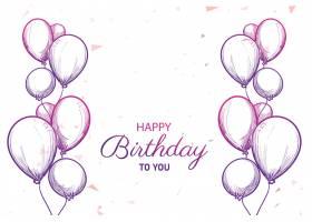 附有气球草图背景的生日快乐卡片_9953103