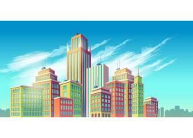 矢量卡通插图横幅带有现代大城市建筑的_1320598