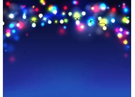 明亮的花环孤立在蓝色背景上电灯泡的漫射_3586038