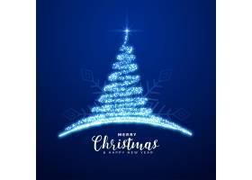 创意圣诞快乐闪闪发光的蓝树背景_11574652