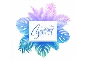 夏季刻字设计采用五颜六色的蓝色和紫色棕榈_13204846