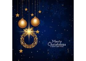 圣诞快乐蓝色背景装饰设计_10792109