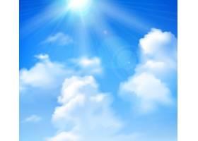 太阳在蓝天上闪耀白云逼真的背景_3815738