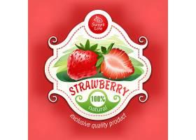 一个带叶子的草莓的矢量插图_1215996