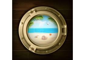 夏天的背景棕榈壳和海星在海滩上船的舷_4358638