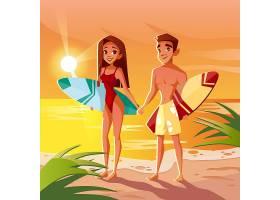 夏威夷冲浪者在海洋海滩日落时男孩和女孩_2890915