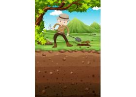 一名男子在公园里挖洞_4932759