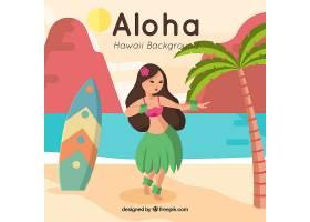 夏威夷女孩和冲浪板的漂亮背景_1160937