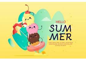 一堆开心的冰激凌手绘夏日背景_8304439