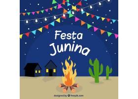 朱尼娜狂欢节的背景和夜晚的营火_2210344