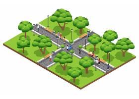 夏季人们在白色背景大道上漫步于绿色公园的_4187220