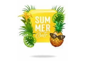 夏季促销亮丽海报印有棕榈叶鲜花和戴墨_2541757