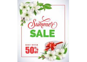 夏季促销字样框内有苹果花和白色背景礼品_2438908