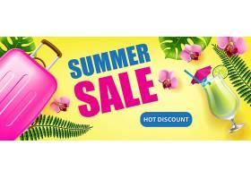 夏季促销带有热带树叶鲜花冷饮和旅行_2542118