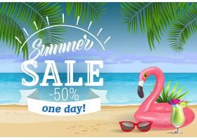 夏季促销有一天会有印有海边和游泳圈的字_2766973