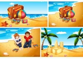 一套夏季海滩背景_11206911