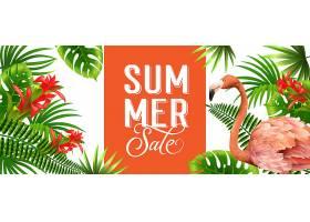 夏季促销橙色旗帜棕榈叶红色热带花朵和_2541783