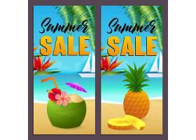 夏季促销海报套装海滩上有椰子饮料和菠萝_4561272