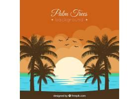 棕榈树覆盖的海滩上的落日背景_1097334