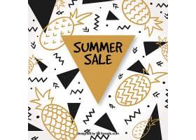 夏季促销背景有菠萝和几何形状_1146607