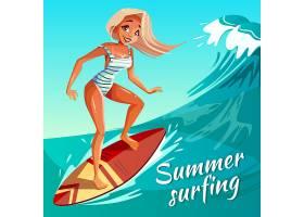 夏季冲浪插图女孩或年轻女子在海浪上冲浪_2890913