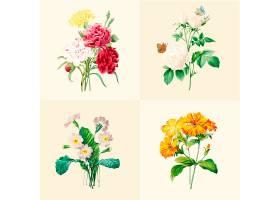一套美丽的盛开的野花_3529971