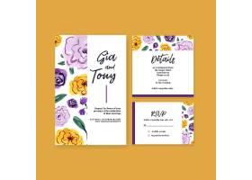 水彩画邀请结婚用毛笔花卉概念设计婚卡模板_11953426