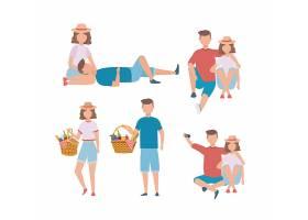 一组男女情侣带着篮子里的食物_4945125