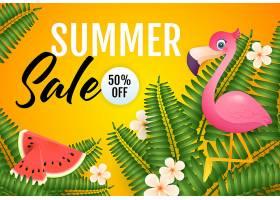 夏季特价刻字火烈鸟西瓜和植物_4561257