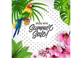夏季特价打折贴字五颜六色的热带背景配_2541759