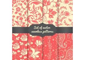 一组花朵无缝图案元素优雅奢华的墙纸质感_4328363
