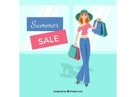 夏季销售背景与女性购物_2153115