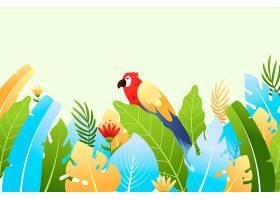 五颜六色的夏日背景树叶和鹦鹉_8375253