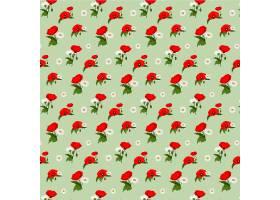 洋甘菊和罂粟花的无缝图案_1308007