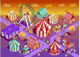 游乐园马戏团景点等距插图_4016611
