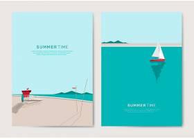 夏日沙滩背景模板集_4520372