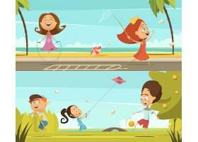 玩带有户外活动符号的儿童水平横幅卡通孤立_3998260