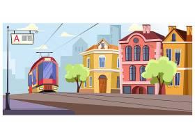 现代有轨电车在城市插图中的轨道上运行_3297781