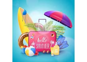 夏日海滩度假背景海报_4320693