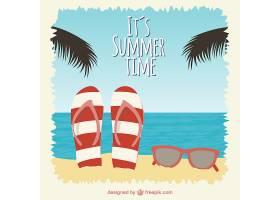 夏日海滩背景是人字拖和太阳镜_720705