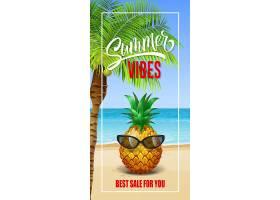 夏日的气息与海滨和戴着太阳镜的菠萝相框_2542140