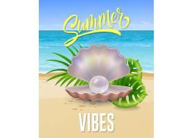 夏日的气息贝壳上刻着海边和珍珠的字样_2542141