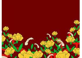 花卉色彩浓郁的女性主义壁纸矢量_3374649